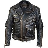 Men's Genuine Leather Jacket Multi-Zip Vintage Classic Motorcycle Rider Style Black Biker Jacket