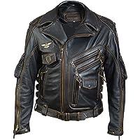 BUSA Bikers Gear Herren Jeans Motorradjacke mit Aramideinlagen /& Protektoren,Jeansjacke Dunkel blau 3XL 46