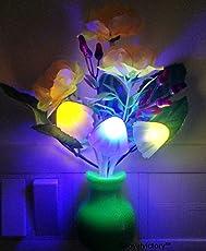 Pink Kites Mushroom Led Lamp With White Pot Yellow Rose & Multi Color Sensor