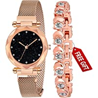 Acnos Branded Rose-Gold Magnet Watch with FrE Gift Rosegold Bracelet and Gift Box for Women or Girls and Watch for Girl…