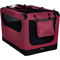 AmazonBasics Premium Folding Portable Soft Pet Dog Crate Carrier Kennel - 36 x 24 x 24 Inches, Red