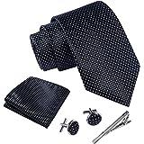Massi Morino ® Cravatta uomo + Gemelli + Fazzoletto (Set cravatta uomo) regalo uomo con confezione reaglo