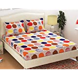 Homefab India Polycotton Double Bedsheet with 2 Pillow Covers - Multicolor,Polka