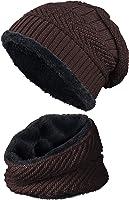 warm gefütterte Beanie + Schal mit Teddy-Fleece Fütterung mit Flechtmuster Wintermütze Einheitsgröße für Damen & Herren...