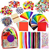 iZoeL 2000pcs Pipe Cleaners Crafts Kit, Enfants Loisirs créatifs Activites manuelles, Tissu Feutre Fil Chenille Pompon Yeux M