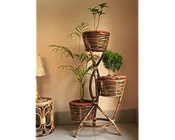 Zilver Eco-Friendly Handmade and Handcrafted Cane Flower Pot Stand Planter for Patio Living Room Balcony Café, Brown, 1 Piece