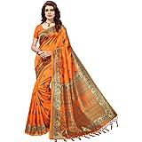 Anni Designer Art Silk Orange Saree With Blouse