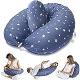 Bamibi ® Cuscino Allattamento + Cuscino Interno Multifunzionale e Cuscino Gravidanza per Dormire in Posizione Laterale, Feder