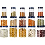 Amazon Brand - Solimo Checkered Jar Set of 15 (Royal Blue)