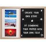 Gadgy ® Letter Board e Cornice Foto Multipla in uno   Dimensioni 52,2 x 37,7 x 2 cm   Con 170 Lettere, Simboli e Numeri Bianche