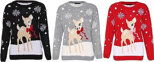 Red Olives® Womens Baby Reindeer Christmas Jumper Kids Unisex Bambi Deer Xmas Knitted Top 7/8 Years-M/L