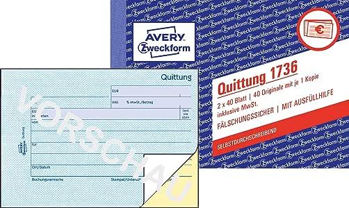 00321 A6 Quer 2 x 50 Blatt Weiß Blaupapier D//A Quittung AVERY Zweckform