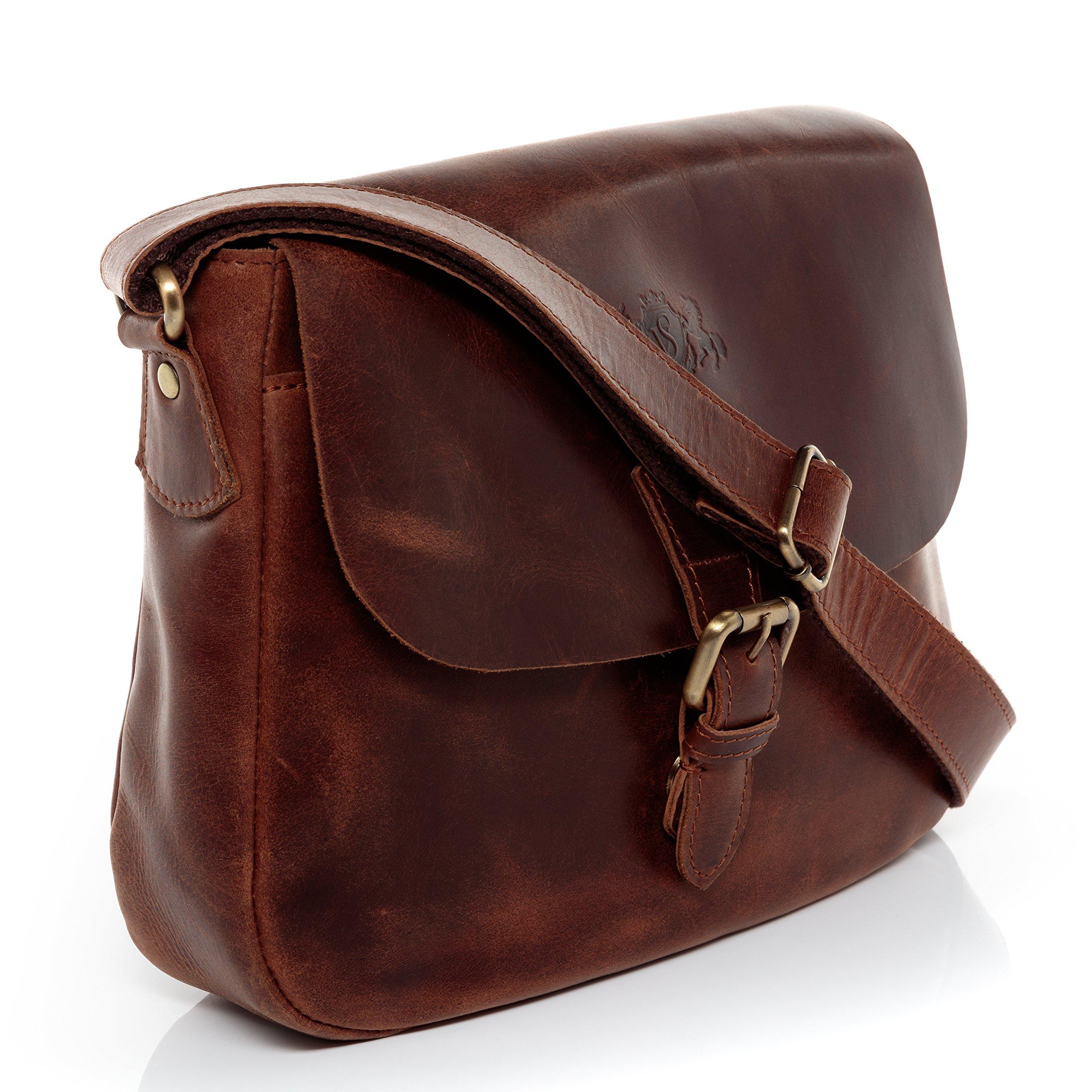 SID   VAIN® borsa a spalla vera pelle vintage YALE piccolo sacchetto  tracolla donna cuoio 3fd539ab08d