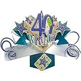 Second Nature - Biglietto pop-up di auguri per 40° compleanno, motivo: stelle [lingua inglese]