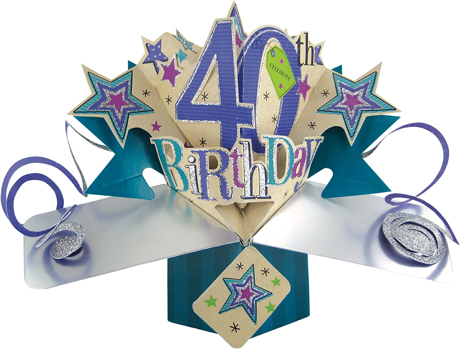 Second Nature A 40th Birthday with Stars Pop Up Greeting Card – 40th Birthday Card Ideas
