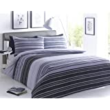 Sleepdown Parure de lit avec Housse de Couette et taie d'oreiller à Rayures texturées Noir/Gris