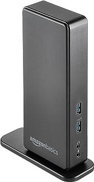 AmazonBasics USB-3.0-Dockingstation für Laptop mit Zwei Monitoren