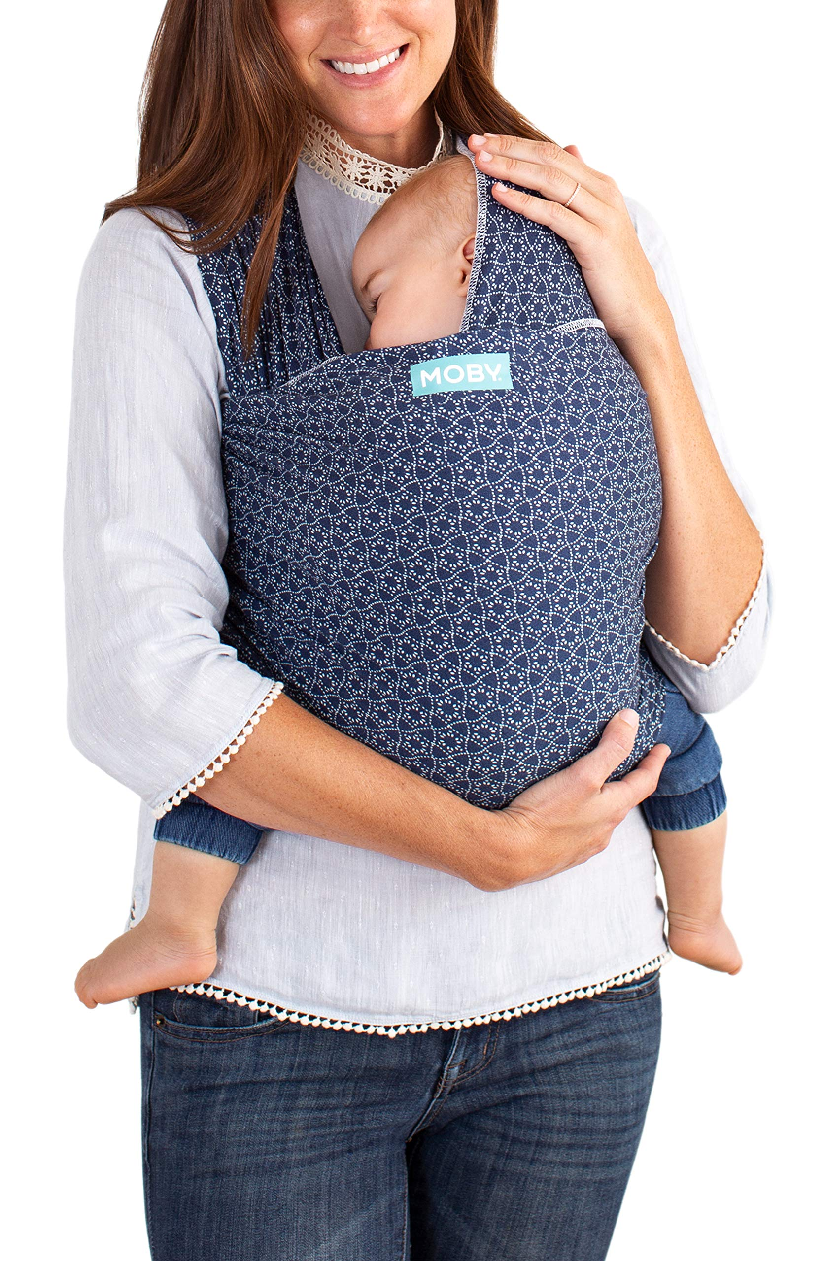 MOBY Evolution Baby Wrap Carrier for Newborn to Toddler up to 30lbs, Baby Sling from Birth, One Size Fits All, Breathable Stretchy Made from 70% Viscose 30% Cotton, Unisex Moby 70% Viscose / 30% Cotton Knit One-size-fits-all Grows with baby, from newborn to toddler 6