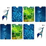 Arty RFID Blocking Sleeves, Tear Proof Contactless Card Protector by Okami - Anti Theft Credit Card Holders in 4 Creative Des