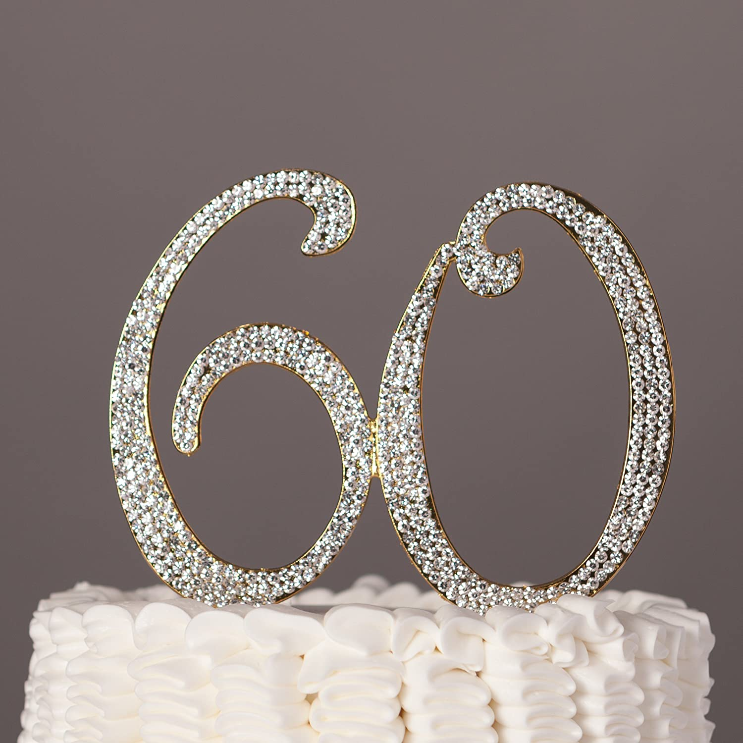 60 Cake Topper for 60th Birthday or Anniversary Gold Party ...
