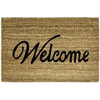 Relaxdays Coconut Fibre Coir Welcome Doormat 40 X 60 Cm Mat With