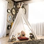Best Choice Products Wood Teepee Tent Kids Indian Playhouse Sleeping Dome, White