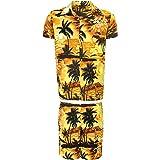 KIKLO Mens Hawaiian STAG Beach Hawaii Aloha Party Summer Holiday Fancy Shirt and Short Set
