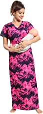 Tucute Women's Beautiful Multi Print Feeding / Maternity / Nursing Nighty/ Nightwear with Invisible Zip