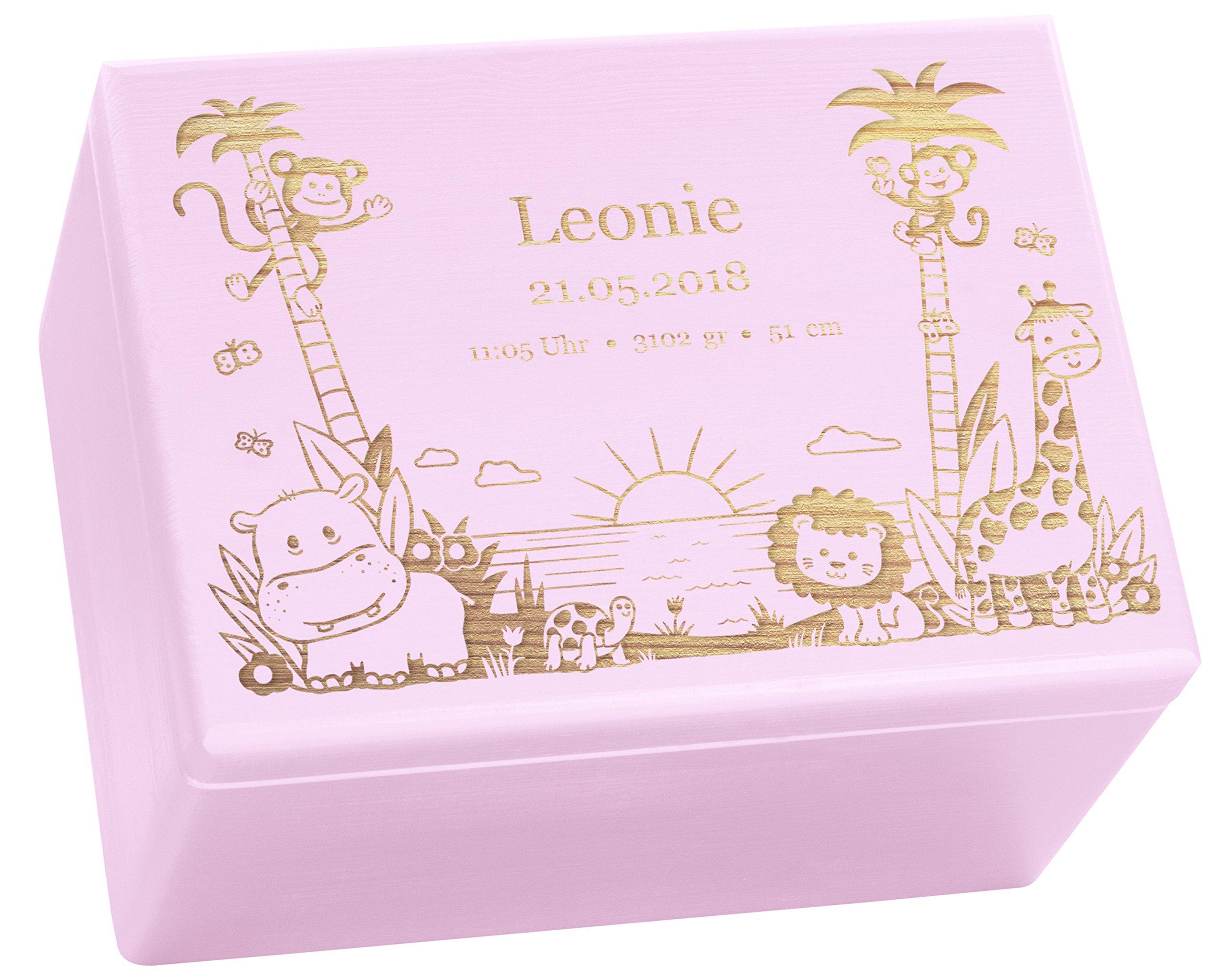 Holzkiste mit Gravur - Personalisiert mit ❤️ GEBURTSDATEN ❤️ - Rosa Größe XL - Dschungel Motiv - Erinnerungskiste als…
