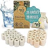 45 Perles de céramique EM®️ pour filtration de l'eau | 25 Grises + 20 Roses | Purificateur/Filtre anti calcaire Zero dechet |