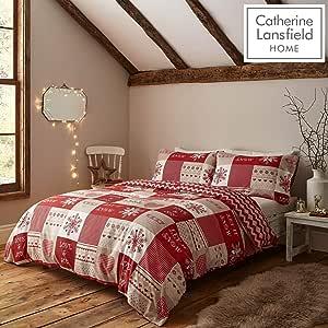 Catherine Lansfield Let It Snow Set Copripiumino, Red, King