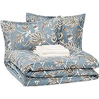 AmazonBasics 8-Piece Comforter Bedding Set, King, Sea Foam Jacobean, Microfiber, Ultra-Soft