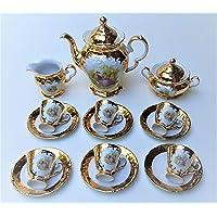 Set caffe' in porcellana pieno oro 24k Romeo e Giulietta