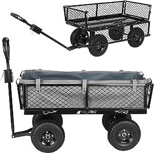 MT MALATEC Bollerwagen Gartenwagen Handwagen mit herausnehmbare Plane und Griffen bis 350kg Schwarz 9032