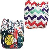 Babymoon (Set of 2) Reusable Cloth Diaper, Premium Adjustable Size Waterproof Washable Pocket Cloth Diaper Nappie