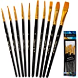 Crafts 4 All Paint Brushes Set Professional Fine Round Pointed Nylon Artist Brush Tips for Acrylic Watercolor and Oil…