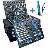 DeTec. Werkzeugkiste 2033 drei Schubladen inkl. Werkzeug in Carbon Einlegern + COB Penlight