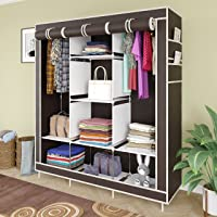GTC® 6+2 Layer Collapsible Wardrobe for Clothes 88130 (with Pocket, Brown)