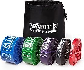 VIA FORTIS Premium Fitnessbänder mit Tasche und Übungsanleitung – Klimmzug-Band für Crossfit Calisthenics Oder Freeletics Workout – Resistance Band/Widerstandsband in Verschiedenen Größen