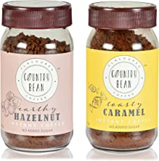 Country Bean Instant Coffee Powder with Hazelnut and Caramel Flavours, 60g - Pack of 2