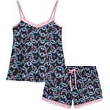Disney Ladies Pyjamas Set, 2 Piece Short Pjs for Women Character Stitch, Womens Shorts and Nightie Top, Summer Clothes for Wo