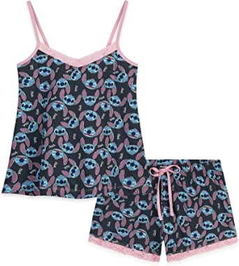 Disney Ladies Pyjamas Set, 2 Piece Short Pjs for Women Character Stitch, Womens Shorts and Nightie Top, Summer Clothes for Women, Gifts for Women Teenage Girls