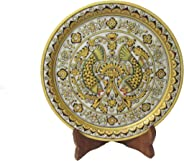 eCraftIndia Fish Printed Marble Plate (9 in, Multicolor)