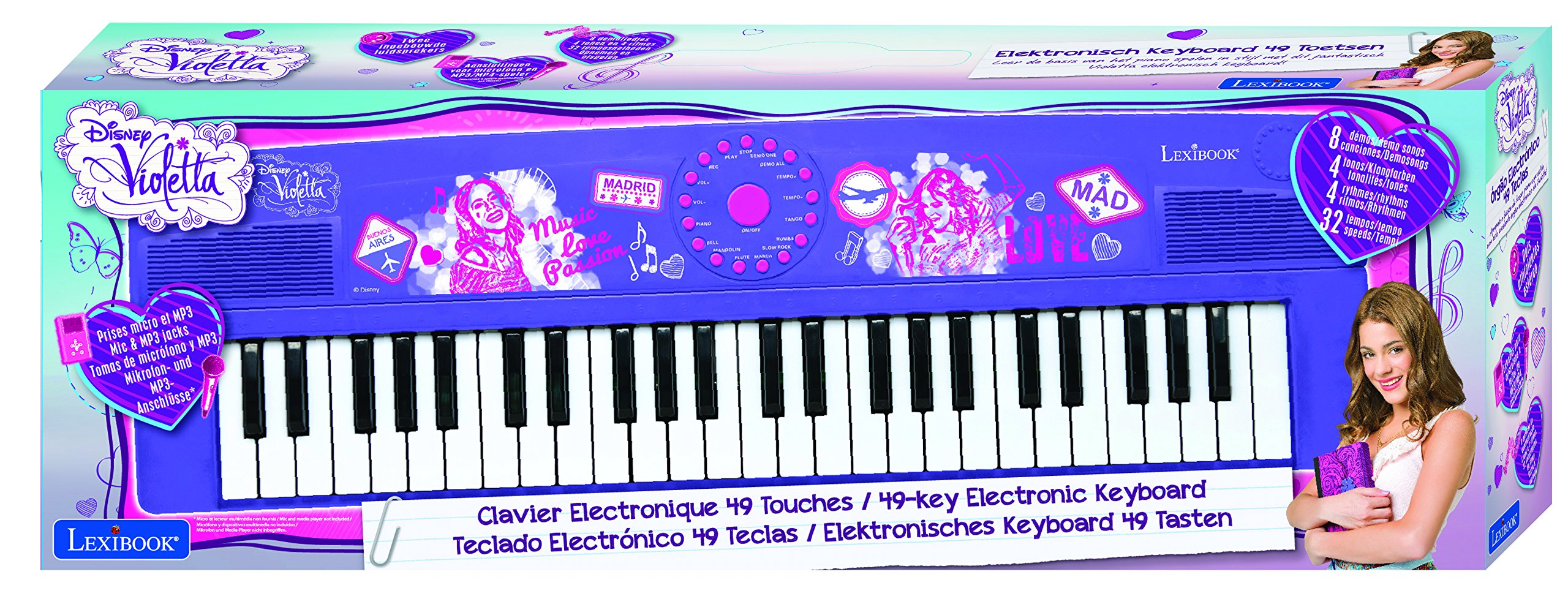 Violetta-Disney Teclado Electrónico con 49 Teclas, Piano portátil, Instrumento niñas (Lexibook K720VI), Color Morado