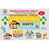 wow party studio personalized cocomelon theme birthday party supplies with birthday boy/girl name - combo kit (37 pcs)- Multi