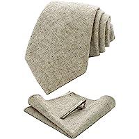 RBOCOTT Solid Color Wool Tie and Pocket Square, Tie Clip Set for Men