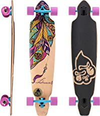 BIKESTAR Premium Canadian Maple Drop Through Flush Cut Pro Longboard Skateboard für Kinder und Erwachsene auch Anfänger ab ca. 12-14 Jahre ★ 75mm Downhill/Freeride/Race Edition ★