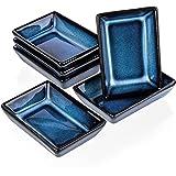 6 x rechthoekige sausschaaltjes 8,8 x 6,2 x 2,3 cm dipschaal blauw fingerfood set van porselein Kinki (blauw schaduw)