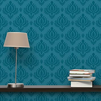 Vliestapete schlafzimmer blau  Apalis Vliestapete Petrol Barock Mustertapete Breit | Vlies Tapete ...
