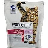 Perfect droog kattenvoer voor volwassen gesteriliseerde katten, rijk aan zalm, 6 zakken met 400 g per stuk.